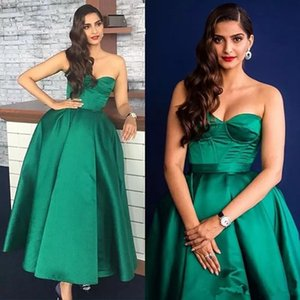 Wholesale Saudi Arabic hunter Green Prom Dresses 2018 Simple Sweetheart Women Formal Party Dresss Evening Wear Ankle Length Party Ball Gowns