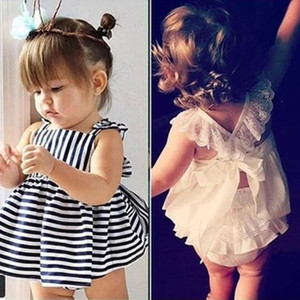 Wholesale Ins Hot Sell Baby Kids Clothing Adorable Girls Clothes Princess White Blue Dress PP Pans Sets Babies Tops Pants Outfits