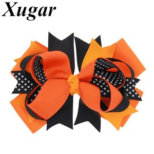 5inch Halloween Ribbon Boutique Hairbows With Clips Kids Hairgrips Dot Printed Hair Bow Handmade Children Hair Accessories 10pcs Gift