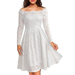 Wholesale Spring Dress Lady Lace Women Dress Sexy Slash Neck Long Sleeves A Line Knee Length Flora Design Elegant Dress