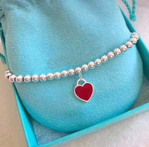 Wholesale 2018 Hot sale S925 Sterling Silver beads chain bracelet with enamel red heart for women and mother s day gift jewelry PS6277