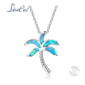 Wholesale LANCAI Fashion Sterling Silver Necklace Simple Coconut Tree Blue Fire Opal Pendant Necklace for Women Fine Jewelry Gift