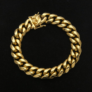 Mens Stainless Steel Bracelet Link Chains Width 8mm 10mm 12mm 14mm 20.5cm Yellow Gold Plated Steel Cuban Bracelet for Men Hip Hop