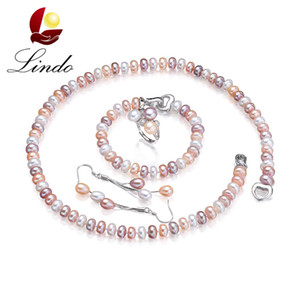 Wholesale Lindo Real Natural Pearl Jewelry Sets For Women Fashion Sterling Silver Earrings ring Bracelet Necklace Lowest Price