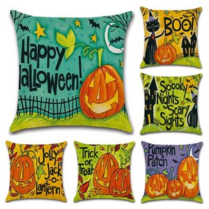 Wholesale Halloween Cartoon Pumpkin Flax Pillow Case Create Comfort Square Cushion Cover Decorative Throw Pillows Halloween Decoration kh gg