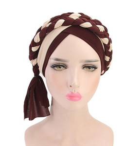 Wholesale New fashion Bohemian twist braid headband hatMuslim chemotherapy cap Women India Hat Beanie Ladies Hair Accessories COlors