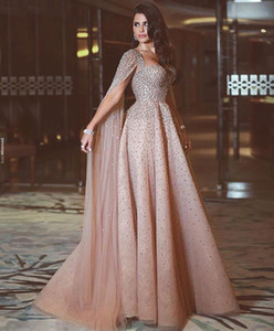 Luxury Blush Pink A Line Prom Dresses Spaghetti Straps Beaded Crystals Floral Applique Wateau Train Rhinestone Formal Evening Party Gowns on Sale