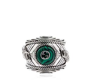 Wholesale Hot sale S925 pure silver ring with nature malachite and leopard head design for women and man wedding jewelry gift PS5552