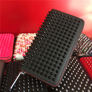 Wholesale wholesale Long Style Panelled Spiked Clutch Women's Patent Leather Mixed Color Rivets Party Clutches Lady Long Purses with Spikes