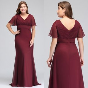 Vestido De Festa butterfly sleeve Chiffon Burgundy Mother Of the Bride Dresses plus size 2018 Long Formal Gown bridesmaid dresses CPS715 on Sale