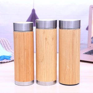 Wholesale Bamboo Water Bottle Stainless Steel Vacuum Cup Insulation Cup With Tea Infuser Strainer ML ML Bamboo Cup