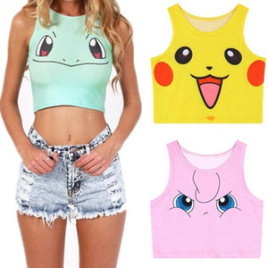 Wholesale New Cartoon Pattern Crop Top Women Camis Pikachu Charmander Squirtle Print tank tops Colorful sleeveless Tee Vest