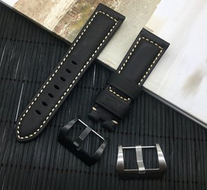 Wholesale Luxury mm mm mm Black watchband Retro Vintage Italy Calf Leather strap For Watch band calfskin buckle PAM logo on