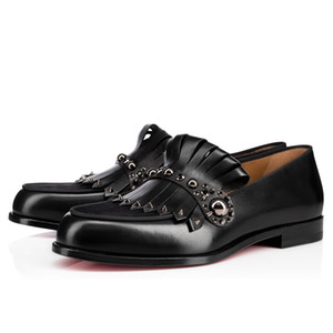 ingrosso donne di oxford appartamenti-Black Genuine Pelle Casanono Uomo Red Bottom Lafers Flats Brand Designer Donne Luxurious Casual Party Dress Wedding Oxford con scatola