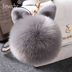 Wholesale 2018 Fur Pom Pom Keychains Fake Rabbit fur ball key chain porte clef pompom de fourrure fluffy Bag Charms bunny keychain Keyring