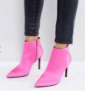 Wholesale 2018 spring fashion women hot pink boots thin heel boots women ankle booties pink silk boots ladies dress shoes point toe