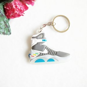 Wholesale Mini Silicone Back To The Future II Glow In The Dark Air Mag Keychain Key Chain Shoes Sneaker Car Key Holder Bag Charm Rings