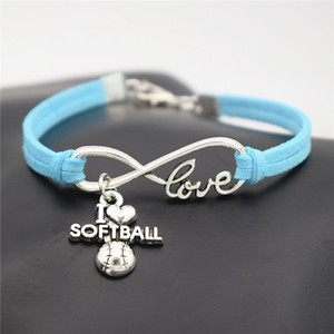 Wholesale AFSHOR Punk Sport Antique Silver I Love Softball Pendant Charm Leather Suede Bracelet for Women Men Softball Team Gift Infinity Love Jewelry