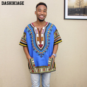 Wholesale 2017 New Fashion Design African Traditional Print Cotton Dashiki T shirt for unisex