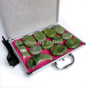 High quality 14pcs set green jade body massage hot stone face back massage plate SPA with heater box CE and ROHS