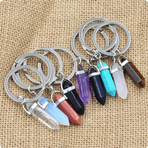Wholesale Vintage Silver Bullet Natural Stone Hexagonal Keychain Ring For Keys Car DIY Bag Key Chain Handbag Jewelry Accessories D614S