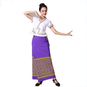 Wholesale Thailand style women stage wear dance clothing Thailand traditional wear Summer elegant dress festival vestido lady Asia ethnic costume
