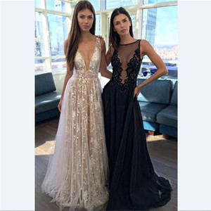 Wholesale 2018 Sexy Deep V Neck Backless Evening Dresses Navy Blue Lace Plus Size Prom Dress Custom Made Spaghetti Formal Club Wear Fast Shipping