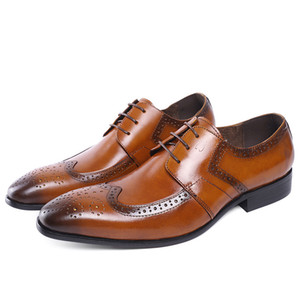 Wholesale FELIX CHU Genuine Cow Leather Lace Up Men Brown Formal Brogue Dress Derby Shoes With Perforated Wingtip Detail E7185