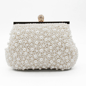 Sweet Shell Pearls Crystal Beaded Ladies Bridal Wedding Hand Bags Evening Party One Shoulder Small Clutch Dinner Bags Accessories