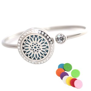 25mm Sunflower Stainless steel Aromatherapy locket Bracelet Bangle essential oil diffuser locket bracelet with 10pcs Felt pads