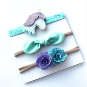 Wholesale Europe and the United States new Unicorn series suit children s baby nylon bow hair accessories