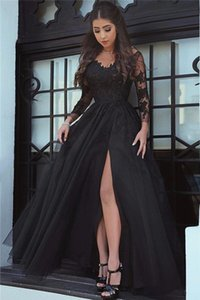 2018 Sexy Black A Line Lace Prom Dresses Arabic Long Illusion Sleeves High Side Split Formal Dresses Evening Wear Party Gowns Vestidos on Sale