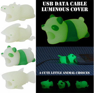 Luminous Cable Bite Cable Cover Cute Animal DATA USB Cable Protector Light in Night Charger Earphone Cables Savor for iphone x 8 samsung