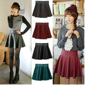 Wholesale Fashion women leather vintage women stretch high waist skater flared pleated mini skirt dress top quality