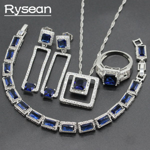 Wholesale 925 Silver Jewelry Sets Square Shape Dark Blue White Zirconia For Women Necklace Pendant Bracelet Ring Long Earrings