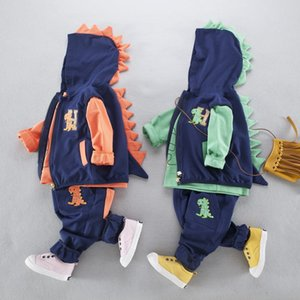 Wholesale Clothing Sets Autumn collection of three piece boy dinosaur cartoon embroidery hooded zipper vest long sleeved trousers V