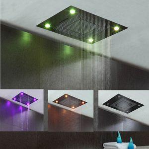 Luxury European Style Large 4 Functions Rain Shower Head SUS304 Waterfall Rainfall Bathroom Led Ceiling Overhead Shower