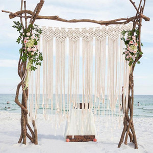 cortinas de decoracion al por mayor-Decoraciones Boho para el banquete de boda Photo Booth Telón de fondo Cuerda de algodón Macrame Colgante de pared Playa bohemia Cortina de borla x100 cm