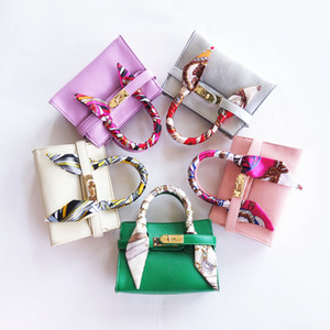 Wholesale candy color children handbags for sale - Group buy New Kids handbags PU Leather With Scarf Candy Color Baby Bag Designer Children Messenger Bags Fashion Baby Products Toddler Purse