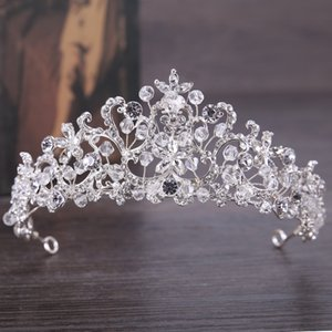 Bridal crown, Korean diamond, crystal crown, 2018 new bridal headwear, fashionable elegance, elegant crown. on Sale