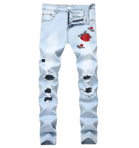 Wholesale Mens Black Blue Rose Flower Patches Skinny Jeans Embroidered Ripped Stretch Denim Hole Pants Size