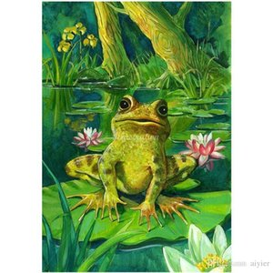 Wholesale DIY Diamond Painting Full Square Round D Diamond Embroidery Fashion Craft Art Gift Frog Lotus Leaf Howling