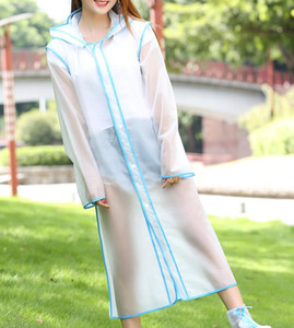 Scrub transparent outdoor hiking travel fashion raincoat long single plain striped raincoat on Sale