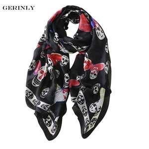 New Silk Scarf for Women Skull Butterfly Printed Bandana Hijab Scarves Plus Size Female Beach Shawls ALL-Match