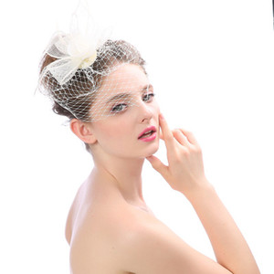 Wholesale New Arrival Bridal Net Feather Hats White Hat Veil Bridal Flower Feathers Fascinator Bride Face Veils Wedding bride Hats