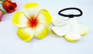 Wholesale 20 New yellow color Foam Hawaiian Plumeria flower Frangipani Flower bridal hair bands elastic bands cm
