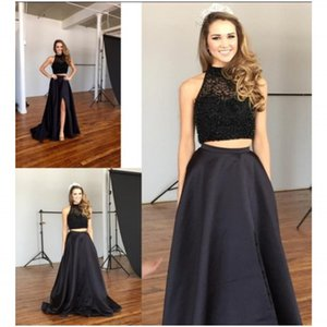 Beautiful 2 Piece Black Designs Prom Dresses High Neck Drops Top Beaded Front Slit Sweep Train Dresses Evening Wear Party Holiday Gown 2018 on Sale