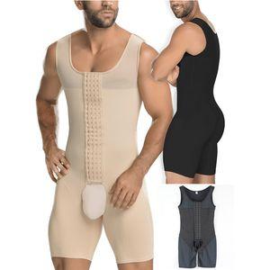 Men Waist Trainer Full Body Shaper Vest Abdomen Plus Size 6XL Steel Boned Bodysuit Open Crotch Male Slim Fit Tighten Underwear