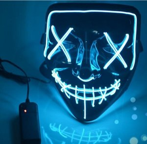 Wholesale 2018 new Hot item LED Light Mask Up Funny Mask from The Purge Election Year Great for Festival Cosplay Halloween Costume