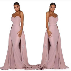 2019 Detachable Tail Mermaid Prom Dresses Pink Satin Evening Dresses Sweetheart Sleeveless Lace Appliques Sweep Train Open Back on Sale